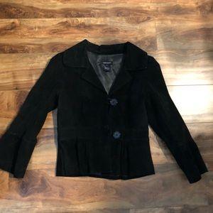 Genuine Suede Pea Coat with Flare